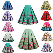 Casual Women Skirt Vintage Rockabilly 50's Party Pinup Short Floral Swing Dress