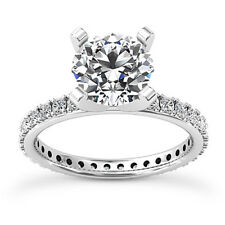 Eternity Solitaire 1.25 Carat Round Diamond H/VS2 Engagement Ring 14K White Gold