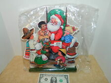 CHRISTMAS SANTA with PRESENTS STAND UP DECORATION wood TABLE VTG CARD IMG