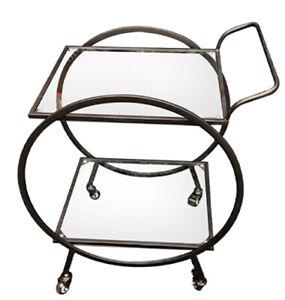 The Black Velvet – Serving Trolley - Black Metal Glass 2 Shelf Drink Cart
