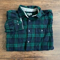 Eddie Bauer Long Sleeve Flannel Button Up Shirt Men's XL Dark Blue Green Plaid