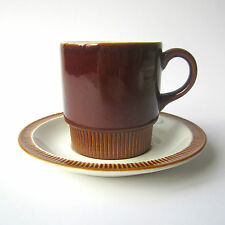 Vintage POOLE Pottery Compact Cup & Saucer Chestnut Brown Robert Jefferson 1960s