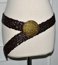 Ceinture en cuir tressé marron et boucle ronde en métal doré vieilli  T U