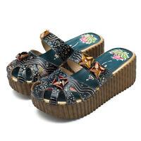SOCOFY Women Handmade Backless Slippers High Wedge Platform Sandal Leather Shoes