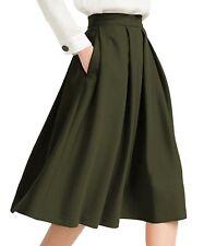 Yige Women's High Waist Flared Skirt Pleated Midi Skirt With Pocket...