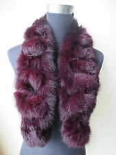 Fashion The latest color Real Best Whole rabbit fur handmade scarf wine red