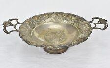 Antique Silver Greek Kylix Drinking Bowl Olive Leaf Woman's Profile Art Nouveau
