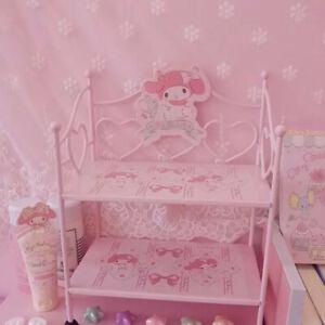Anime My Melody Iron Frame Cute Pink Shelf Girl Desktop Storage Rack Decor Gift