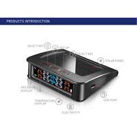 Car Solar Tire Pressure Monitoring System Wireless TPMS LCD +4 External Sensor