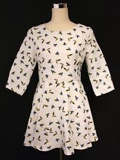 Unique White w/ Yellow Blue Birds 3/4 Sleeve Mini Dress - Med - Import Flair