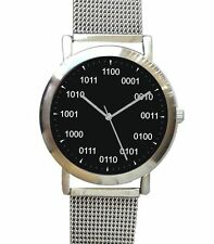 Large Geek Black Dial Watch Has Binary Numbers At Each Hour Has S.S. Mesh Band