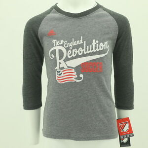 New England Revolution Official MLS Youth Girls Size 3/4 Sleeve Adidas Shirt New