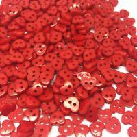 lot 50 Bouton coeur rouge 6mm scrapbooking bricolage décoration mercerie couture