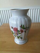 Vintage Gold Rim, Pink Floral Fine Porcelain Vase with Butterfly.