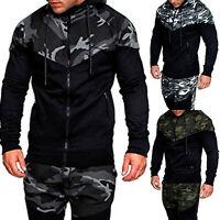 Mens Camouflage Zipper Hooded Sweatshirt Hoodie Coat Tops Jacket Outwear Sweater