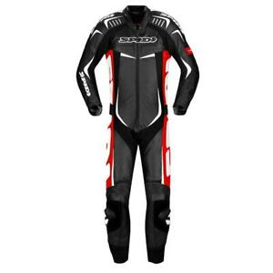 Spidi Track Wind Pro Motorcycle Motorbike 1 Piece Leather Suit  Black Red White