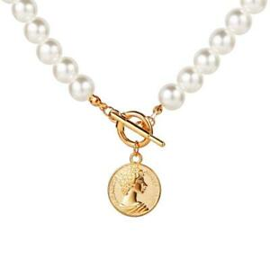 Womens Pearl Necklace Choker Beaded Gold Pendant Long Necklaces Party Jewellery