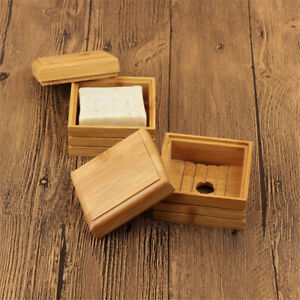 Bamboo Soap Box Dish Plate Case Soap Holder Container Rack Home Bathroom Shower