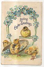 Loving Easter Greetings, Baby Chicks with Basket, Flowers Vintage Postcard