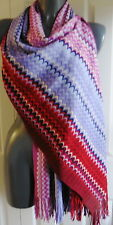 WOMENS  SCARF  pashmina MISSONI red  WIDE MADE ITALY ZIGZAG SIGNATURE NEW TAGS