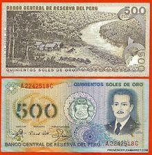 PEROU billet neuf 500 SOLES DE ORO Pick125a JOSE QUINONES FLOTTAGE BOIS 1982