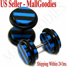 1274 Fake Cheater Illusion Faux Ear Plugs Black & Blue Stripes Parttern 0G 8mm