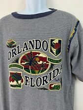 Vtg Warner Bros Orlando Florida Paradise Found Ringer T Shirt Striped Graphic XL