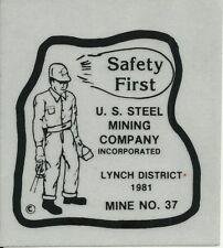 U.S. Steel Mining Co Lynch Mine No. 37 Vintage Unused Mining Hard Hat Sticker
