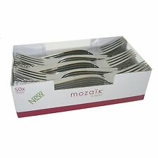 Mozaik 50 X Metallic Silver Plastic Forks - Disposable Cutlery