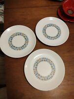 "3 Canonsburg Temporama Pottery 10"" Dinner Plates Vintage Mid Century EUC Atomic"