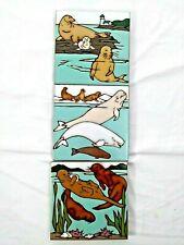 Mag Mor Sea Life Mosaic Art Tiles Sea Otters Belugas Seals Set of 3 Fitzgerald
