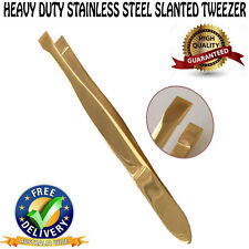 EYEBROW TWEEZER PLUCKER PULLER SLANT TIP STAINLESS STEEL GOLDEN NEW TWEEZERS