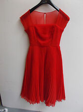 ASOS Premium Pleated Cap Sleeve Midi Dress Red UK 8 US 4 EUR 36 RRP £58 (ca90)