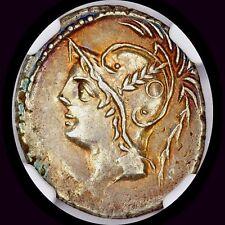 LOVELY Q. MINUCIUS THERMUS M.F. AR DENARIUS NGC XF 103 BC MARS GLADIATORS TONED