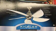 "Kichler 60"" Nautical Sail 5 White Canvas Blades  Ceiling Fan Antique Brass"