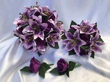Real Touch Purple Lily & Silk Purple Rose Wedding Bridal Flower Bouquet Set