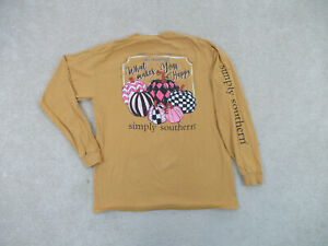 Simply Southern Shirt Womens Large Yellow Pumpkins Preppy Long Sleeve Ladies *