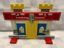 """Vintage LOCKING CASTLE Wooden Teaching Toy Made in Japan 12"""" x 9"""""""