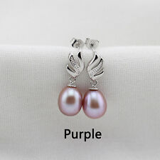 100% natural purple 8-9 MM freshwater pearl  925 sterling silver earring