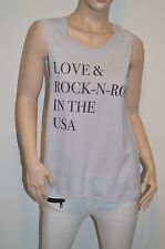 "New $62 Chaser ""Love & Rock-N-Roll In The USA"" Tank Grey Blue T-Shirt XS Glitter"