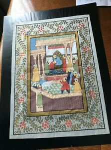 Indian Mughal Scene Watercolor Painting on silk