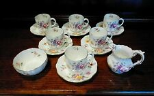 "ROYAL CROWN DERBY ""DERBY POSIES"" 6 COFFEE CANS & SAUCERS MILK & SUGAR"