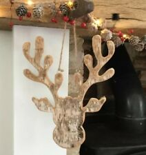 Rustic Stag Reindeer Head Wood Birch Wall Christmas fireplace Decoration Hanger