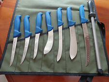 "F. DICK 9 PIECE SPORTSMANS KNIFE SET ""THE BIG DICK"" GERMANY AUSSIE CANVAS ROLL"