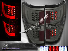 2009-2014 Ford F150 XL XLT STX FX4 Pickup G2 Tail Lights Smoke + 3rd Brake Light