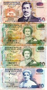 NEW ZEALAND BAKNOTES, MIX LOT 4 PCS $10 $20 $50 1990's VERY FINE