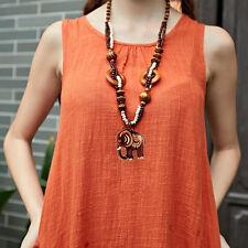 Cute Women Boho Ethnic Style Long Hand Made Bead Wood Elephant Pendant Necklace