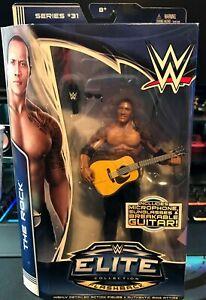 THE ROCK DWAYNE JOHNSON w/ Guitar WWE Mattel Elite Series 31Figure 2014 NIB MINT
