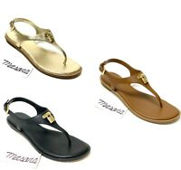 Women MK Michael Kors Mira Thong Buckle Up Flat Sandals Leather