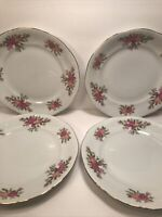 4 SOUTHINGTON BAUM FINE CHINA ''ROSE GARDEN'' SALAD PLATES POLAND VTG  7 1/2''
